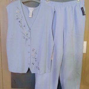 NWT New Koret Set Vest Pants 10 12 women's set blu